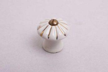 Knop wit porselein geribbeld met gouden streepjes 19mm-30mm met schroef