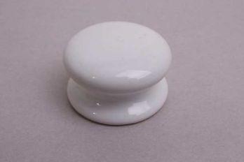 Knop wit porselein met grote voet rond 39mm