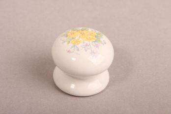 Porseleinen knop wit met gele bloemen rond 35mm