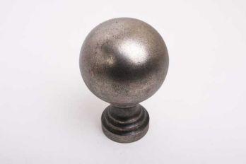 Grote bol rond 80mm met voet zilver antiek