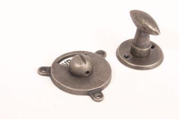 WC sluiting ovale draaiknop zilver antiek met zwart wit vrij/bezet