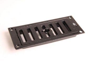 Afsluitbaar rooster gietijzer zwart, roest of tinkleur 72 x 173 mm