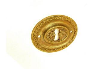 Klassieke sleutelplaat ovaal brons antiek voor lades 53mm horizontaal