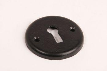 Zwarte sleutelrozet rond 50mm met sleutelgat voor klassieke baardsleutels