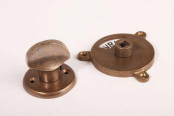 WC sluiting brons antiek platte knop + ronde rozet 747 zwart/wit