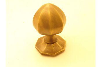 Deurknop brons antiek achthoekig