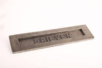 Brievenbus geveerd zilver antiek 'brieven'