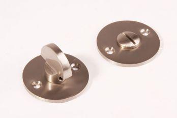 WC sluiting geborsteld nikkel rond 50mm met half ronde knop