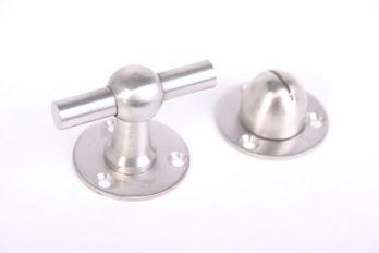 WC sluiting geborsteld nikkel en RVS 55mm T-knop en 40mm rozet