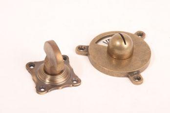 WC sluiting brons antiek half ronde knop + rozet 159 zwart/wit