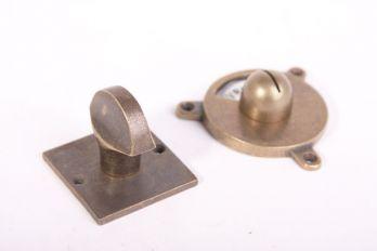 WC sluiting vrij bezet Bauhaus-vierkante rozet brons antiek
