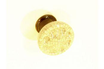 Knop antiek wit krakelee porselein met brons antiek 33mm