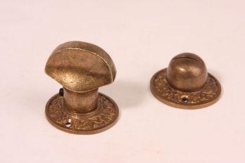 WC sluiting klassiek brons antiek met ronde rozetten