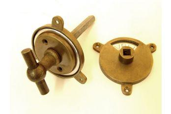 WC sluiting T-knop brons antiek, tinkleur of roest