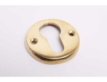 Cilinderrozet rond voor PC cilinderslot in messing polijst