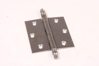 Scharnier metaal grijze tinkleur 76mm x 76mm met sierknop