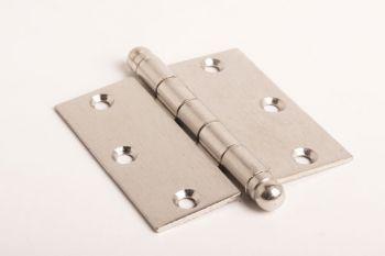 Scharnier voor binnendeuren geborsteld nikkel 89 x 89 mm met bolkop