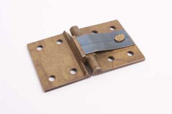 Klepscharnier geveerd voor 90 graden stand messing of brons antiek 63x38mm