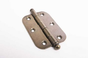 Meubelscharnier antiek brons met ronde hoeken 62mm
