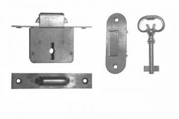 Slot messing 25mm met sleutel en geveerde inlaat