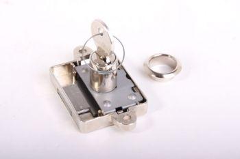 Opdekslot nikkel 25mm met cilinder voor meubelen met 2 sleutels en rozet rechts