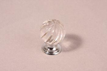 Knop kristal met chroom 25mm, 30mm of 35mm