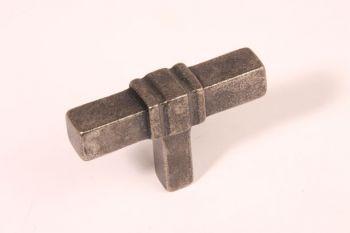 Knop T-vorm antiek zilver 63mm