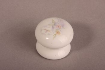 Landelijke knop wit porselein met bloemen rond 35mm