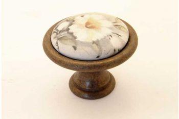 Knop wit porselein 27mm met witte bloem en brons antiek