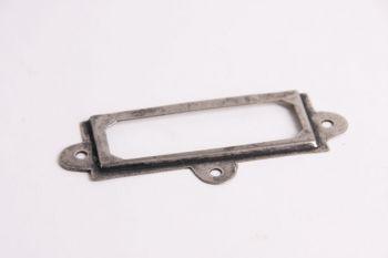 Etikettenhouder zilver antiek 37x93mm + 3x 3,0x16mm bolkop