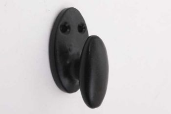 Landelijk kapstokhaakje ovaal zwart gietijzer koordkikker 40mm
