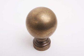 Bol knop rond 60mm als paalkop of voordeurknop brons antiek