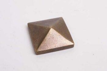 Vierkante nagel sierkop met M4 schroefdraad brons antiek 30mm