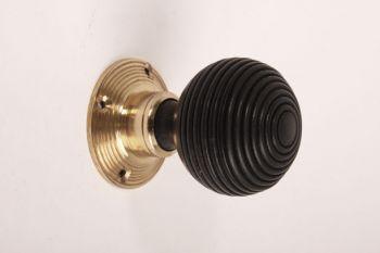 Deurknop (paar) brons antiek of messing polijst - zwart hout