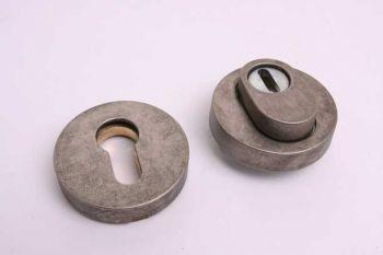 Profiel-cilinderrozet rond met kerntrek voor PC-slot zilver antiek SKG***