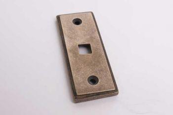 Rozet rechthoekig 29mm brons antiek voor trekbel aan binnenzijde