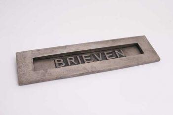 Brievenbus groot tochtklep geveerd zilver antiek brieven