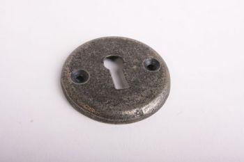 Sleutelrozet rond 50mm met sleutelgat voor baardsleutel oud grijs