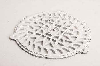 Rond luchtrooster van gietijzer in wit (oude look) 200mm
