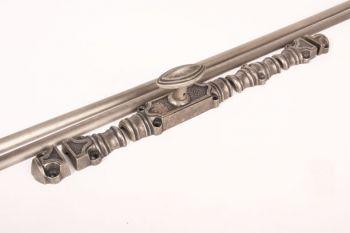 Raamsluiting Cremone zilver antiek 2400mm met stangen