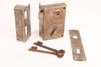 Slot opdek massief messing met 2 sleutels verticaal rechts of links 70mm