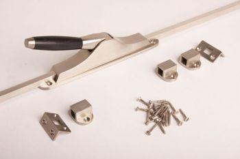 Schuifespagnolet/pompespagnolet Tonmodel geborsteld nikkel met stangen
