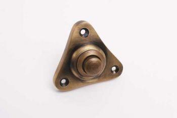 Deurbel driehoek brons antiek 48mm - driehoekige beldrukker