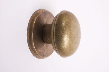 Deurknop brons antiek voor voordeur met rozet rond 80mm
