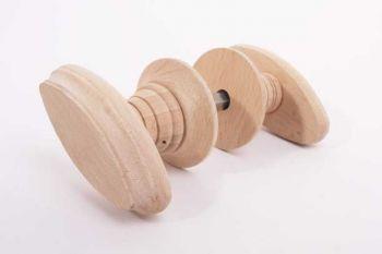 Houten deurknoppen bedstee beuken 92mm - deurkruk per paar met rozetten