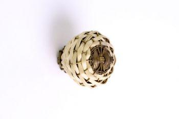 Geweven knop bamboe brons antiek 35mm