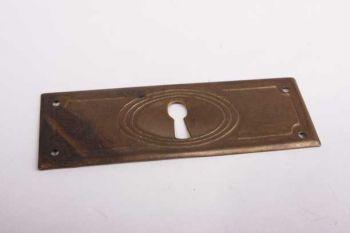 Sleutelplaat antiek brons voor een lade dwars 32 mm