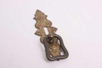 Klassieke greep voor deurtjes brons antiek 35mm met sleutelgat