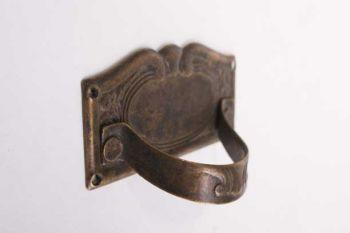 Greep trekker dun messing in brons antiek 63 mm