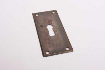 Sleutelplaat rechthoekig voor meubelen brons antiek 60mm x 30mm